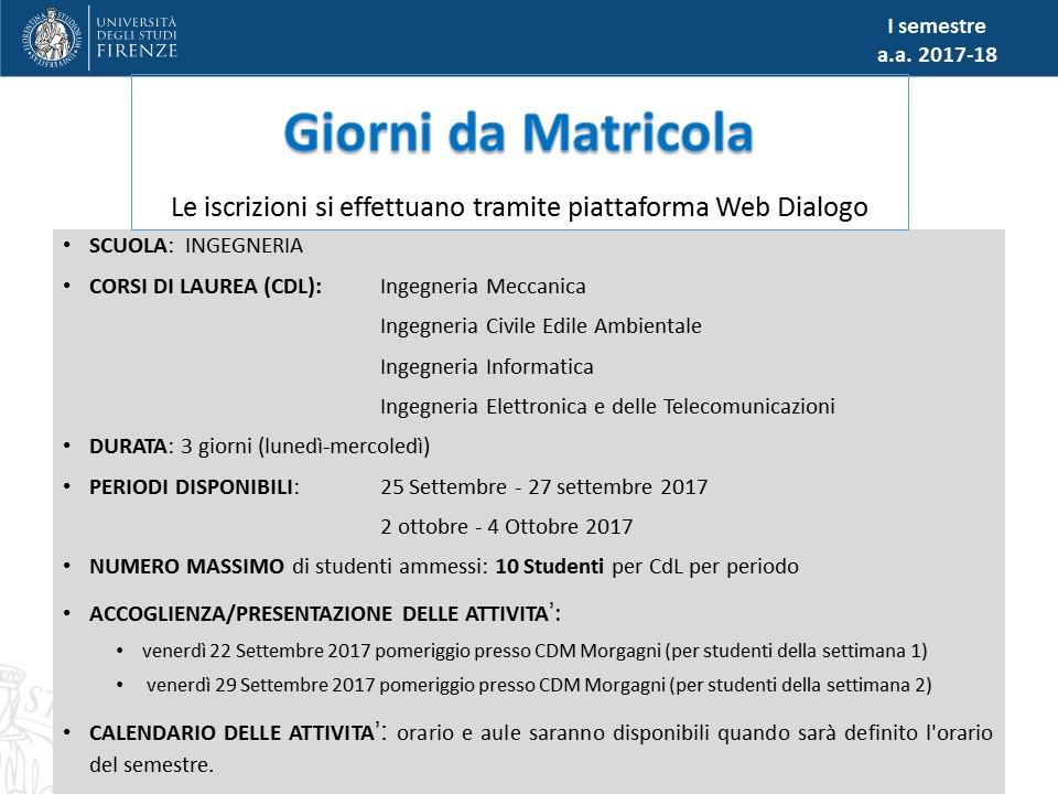 Calendario Unifi Economia.Giorni Da Matricola E University Lab Orientamento